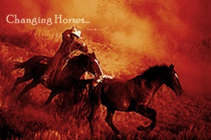 Cowboy Lassoing a Horse